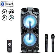"""Starqueen Trolley Bluetooth PA Speaker Dual 12"""" Woofers with 2 Wireless UHF Microphones, Battery Powered Rechargeable Karaoke DJ Speaker with LED Lights, Active Digital Sound Box, FM/MP3/USB/SD/TF/AUX"""