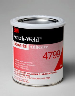 3M 4799 Black Industrial Adhesive, 1 Quart: Automotive ...