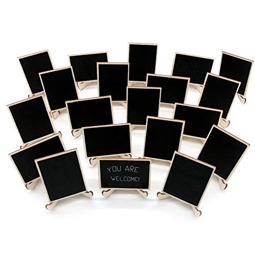 20 Pack Wood Mini Chalkboards Signs with Support Easels, Place Cards, Small Rectangle Chalkboards Blackboard for Weddings, Birthday Parties, Message Board Signs and Event Decorations]()