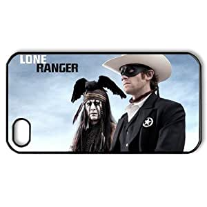 "DiyPhoneCover-Custom Johnny Depp ""The Lone Ranger"" Printed Silicon Protective Black Case Cover for Apple iPhone 4,4s-DPC-2013-02103"