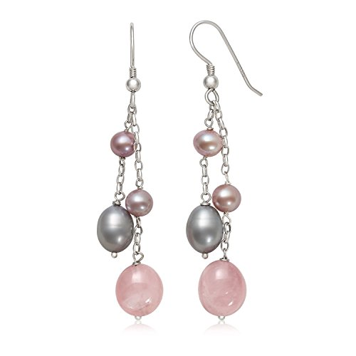 - Sterling Silver Pink Cultured Freshwater Pearl and Rose Quartz Dangle Drop Earrings
