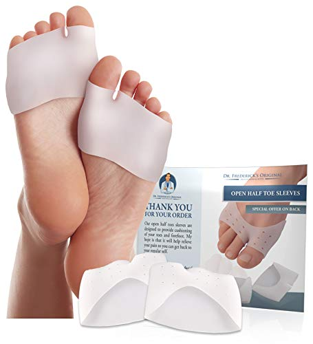 Dr. Frederick's Original Half Toe Sleeve Metatarsal Pads - Bunion  Forefoot Cushioning - 2 Pieces - Great for Diabetic Feet - Prevent Calluses and Blisters - For Men and Women
