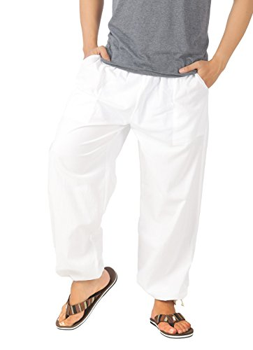 Loose Fit Sleep Pant (CandyHusky Mens Cotton Loose Casual Running Gym Workout Yoga Pants Elastic Waist (White))