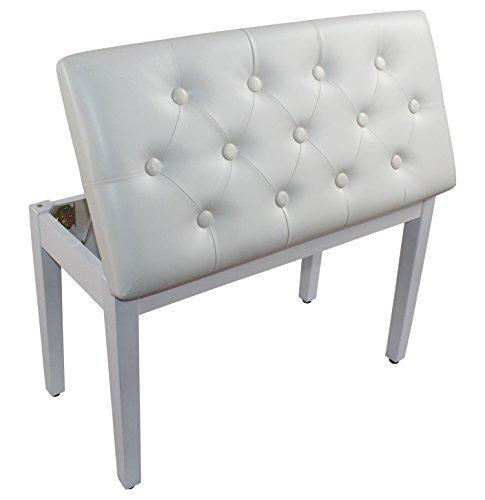 YMC White Ebony Wood Leather Piano Bench Padded Double Duet Keyboard Seat Storage (White) by YMC