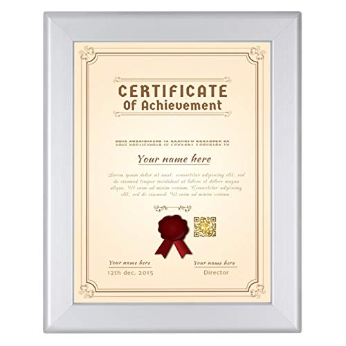 - SnapeZo Diploma Frame 8.5x11 Inches, Silver 1.25 Inch Aluminum Profile, Front-Loading Snap Frame, Wall Mounting, Professional Series