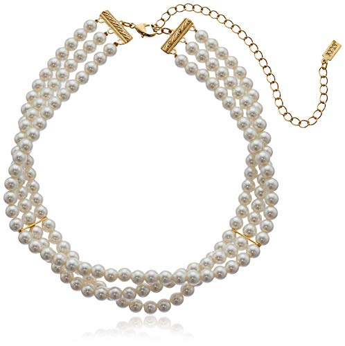 "1928 Jewelry Gold-Tone Simulated Pearl 3-Row Choker Necklace 13"" Adj."