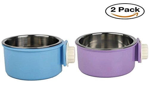 Cage Bowl (Yusenpet Cage Feeder Bowl for Small Pet, Food Water Feeder Bowl Dish with Bolt Holder for Pet Dog Cat Bird, 2 Colors Available)