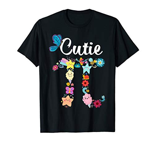 Retro Cutie Pi Math Pie Butterfly flower t-shirt Pi Day Gift