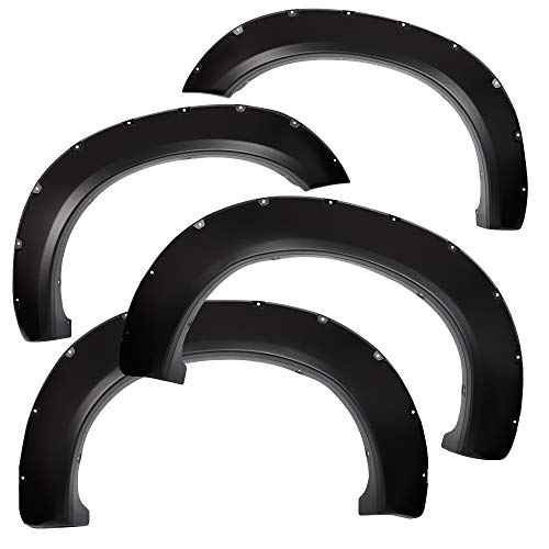 4pcs Front and Rear Smooth Black Aftermarket Pocket Riveted Style Wheel Fender Flares for 2011-2016 Ford F250 / F350 Super - Flares Aftermarket Fender