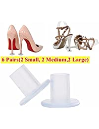 Transparent 6 pairs high heel protectors heel stoppers with 2 Small, 2 Medium and 2 Large Size