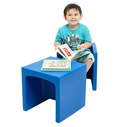 ECR4Kids Tri-MeAdaptable Kids Cube Chair, Convertible Chair for Kids and Toddlers, Portable Plastic Play Seat and Table, Blue