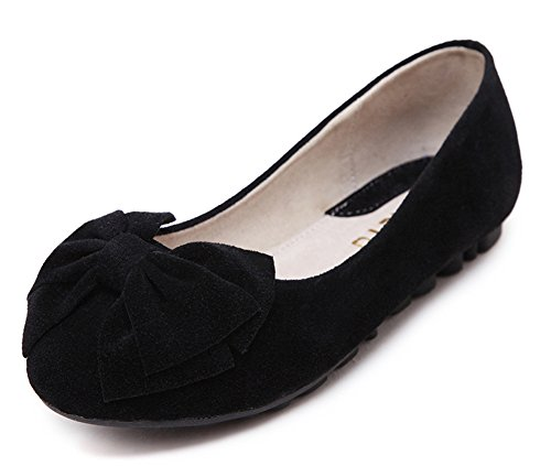 Easemax Mode Féminine Bout Rond Coupe Basse Casual Slip On Bowknot Chaussures Chaussures Noir