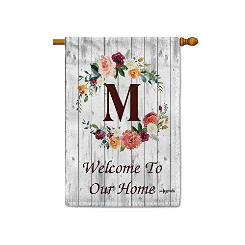 KafePross Hello Spring Flowers Summer Initial Letter Monogram M House Flag Welcome to Our Home Warminghouse Decor Banner for Outside 28X40 Inch Double Sided (Monogram Flag)