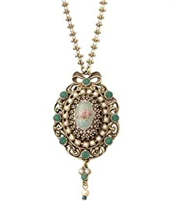 Victorian Elegance Michal Negrin Beautiful Oval Pendant Garnished with Rose Cameo, Surrounded Vintage Engraved Edge, Green and Faux Pearl Swarovski Crystals - Special Ordered and Shipped within 2 to 3 Weeks