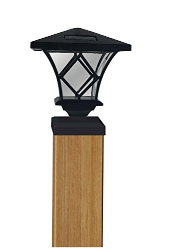 Moonrays 91186 Ridgely-Style Premium Output Solar Powered Plastic Post Cap Light, Black Finish, Takes AA 600 mAh NiMh ()