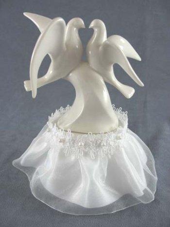 - White Porcelain Love Doves Wedding Cake Topper with Organza Skirt