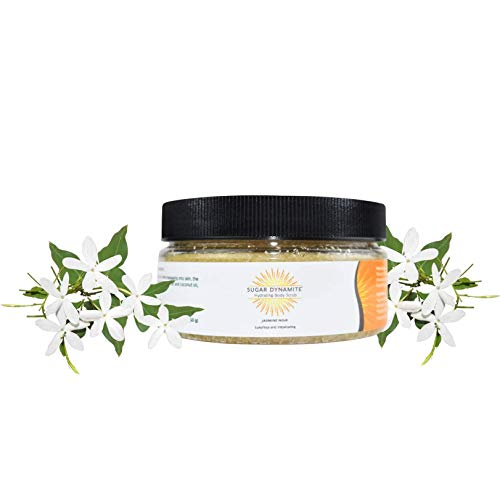 Sugar Dynamite Body Scrub with All Natural Vegan Sugar, Raw Shea Butter and Organic Coconut Oil to Exfoliate, Hydrate and Moisturize Dry Skin - Jasmine - 12 oz. Jar (Oil Dry Jasmine)