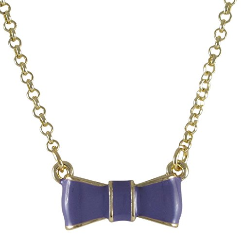 Ivy and Max Gold Finish Enamel Bow Girls Pendant Necklace, 15+2
