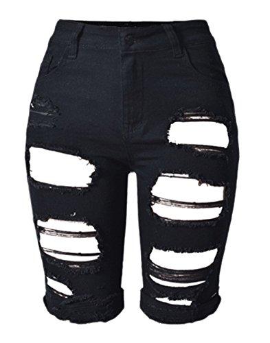 chouyatou Women's Casual Stylish Butt-Lifting Stretch Ripped Denim Bermuda Shorts (X-Large, Black)