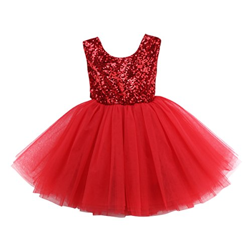 Baby Girls Sleeveless Flower Wedding Pageant Princess Bowknot Party Dress Infant Lace Tutu Dresses 0-5Years (Red, 4~5Years) -