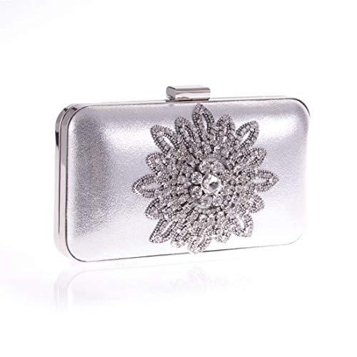 Fly Sun Flower Evening Evening Diamond Fashion Versione Bag La Bag Borse coreano coreana Banquet New Silver Bag borsa YrYg4nSB