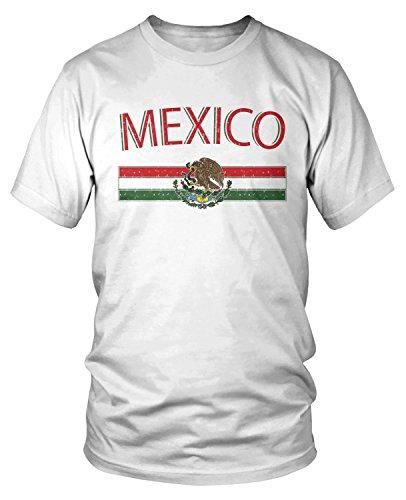 Coat White T-shirt - Amdesco Men's Mexican Flag and Coat of Arms, Mexico T-shirt, White XL