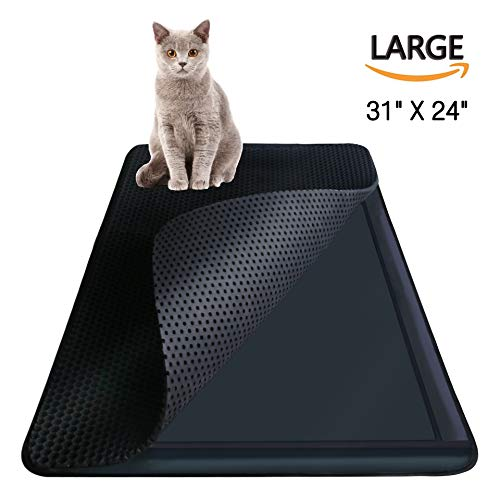 Litter Trapper Mat - Cat Litter Trapper Catcher Mat, Cat supplies, Kitten Litter Box Purr Pad, Kitty Trash Can Trap, Large Cats Mats, Cat Spot litter Matt, Double Layer & Black Hole / Waterproof & Ventifresh, 31