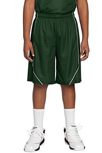Sport-Tek Youth PosiCharge Mesh Reversible Spliced Short-Forest Green-Youth Small