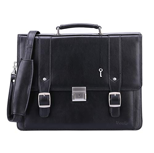 Leather Expandable Messenger - Ronts Men's PU Leather Briefcase Messenger Bag 15 Inch Macbook Laptop Shoulder Bag 015