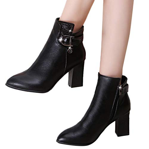 Hot Sales! NRUTUP Leisure Women's Sexy Ankle Pointed-Toe High Heel Shoes Keep Warm Short Boots (35,Black)