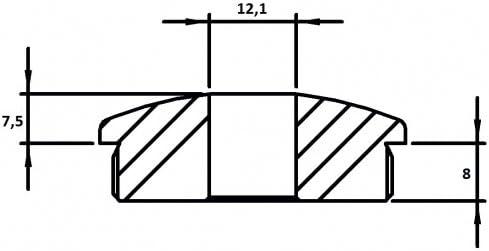 f/ür Rohr /ø 48,3 x 2,6mm massiv zum Einschlagen Endkappe leicht gew/ölbt mit /ø 12,1mm Bohrung