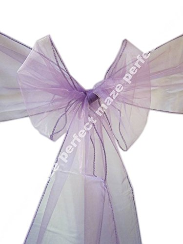 """Perfectmaze 100 Piece 8"""" x 108"""" (Inch) Organza Chair Sash Bow Cover for Wedding, Party, Engagements, Formal Events Decoration 20 Colors+ (Purple)"""