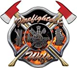 "Firefighters Wife Inferno Maltese Cross Decal with Axes - 6"" h - REFLECTIVE"