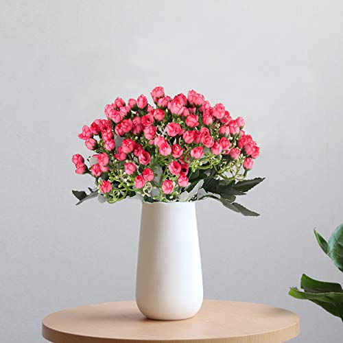 (Yinhua 4 Pcs Artificial Flower Rose Flower Artificial Mini Rose Buds House Office Wedding Garden Table Patio Christmas Festival Indoor Outdoor)
