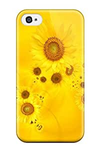 Durable Protector Case Cover With Bright Yellow Sunflowers Hot Design For Iphone 4/4s