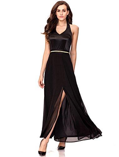 - Noctflos Summer V Neckline Halter Cocktail Wedding Bridesmaid Maxi Dresses