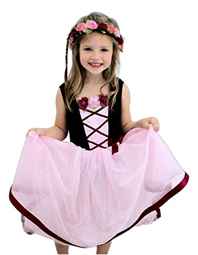 Tree Nymph Halloween Costumes (Bundle of 2 Great Pretenders Items- Ribbon & Rose Dress with Rose Garland Halo)