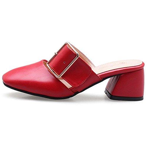 Enfiler red Mules a Femmes RAZAMAZA 4R0E4
