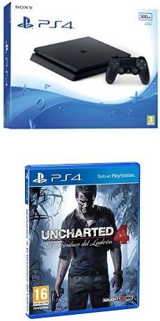 PlayStation 4 Slim (PS4) 500 GB - Consola + Uncharted 4: El Desenlace Del Ladrón: Amazon.es: Videojuegos