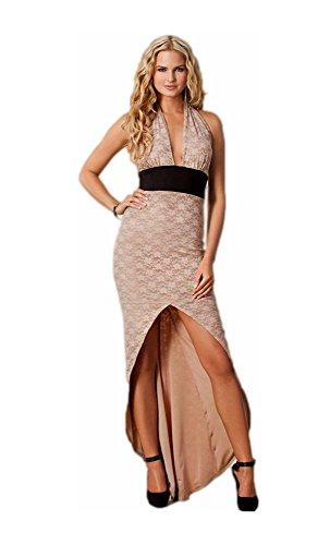 Mela Proibita - Sexi vestito donna lungo asimmetrico scollo v aderente spacco anteriore fashion - M