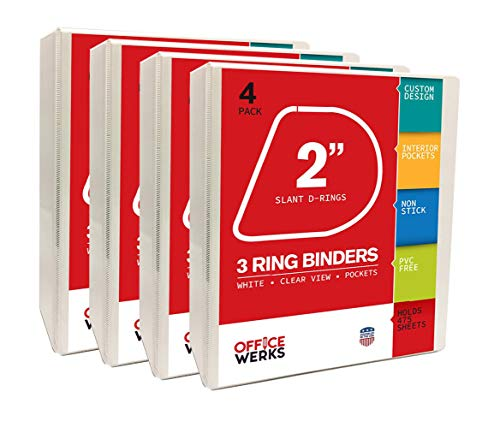 2 D-ring Presentation Binder - Three Ring Binder, 2 inch Slant / Angle D Ring, Pack of Four White Presentation View Binders, 475 Sheet Capacity, Customizable Cover & Spine, Two Inside Pockets