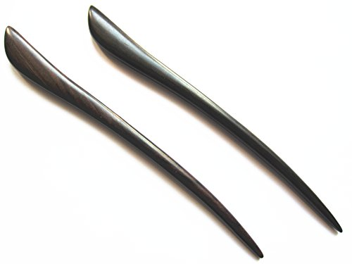 Myhsmooth Zz-bs-bt 2 Count Hair Sticks Natural Black Sandalwood Handmade Carved Hair Clip Shawl Hair Pins Pack of 2 Pcs