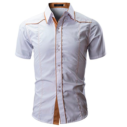 iLXHD Men Shirt Fashion Solid Color Male Casual Short Sleeve (Non Iron Spread Collar Oxfords)
