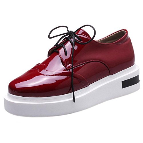Lace TAOFFEN Women's 6027 Claret Shoes Platform Wedge up RqpPfgwqv