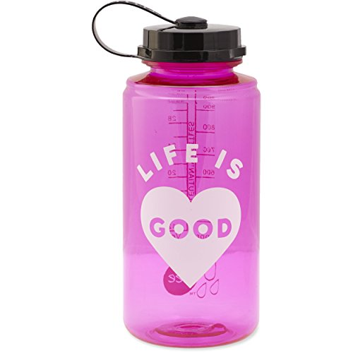 Life is good Lig Heart Water Bottle, Pop Pink, One Size