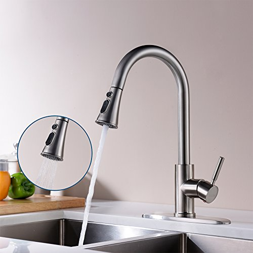 Kitchen Faucets with Pull Down Sprayer - Kablle Commercial Single Handle Brushed Nickel Kitchen Faucet, Single Level High Arch Pull Out Stainless Steel Kitchen Sink Faucets with Deck Plate by Kablle (Image #2)