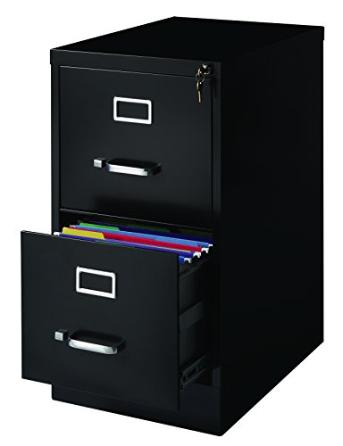Office Dimensions Commercial 2 Drawer Letter Width Vertical File, 22-Inch Deep, Black