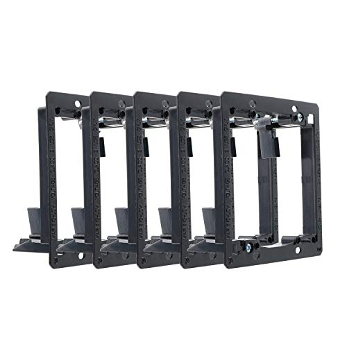 Maxmoral 5pcs 2-Gang Low Voltage Mounting Bracket Multipurpose Drywall Mounting Bracket for Wall Plate of Telephone Wires, Network Cables, HDMI, Coaxial, Speaker -