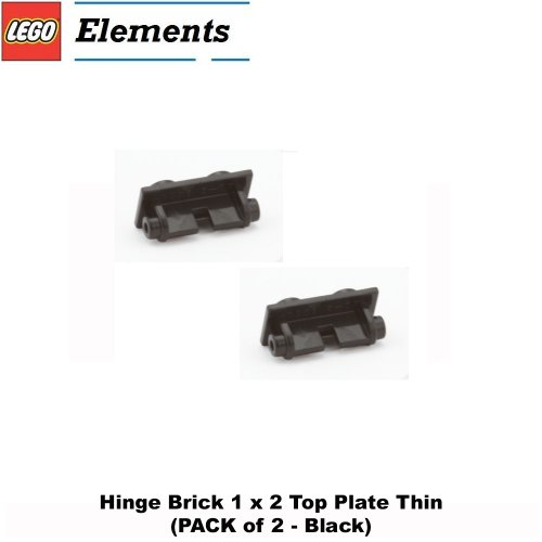 Lego Parts: Hinge Brick 1 x 2 Top Plate Thin (PACK of 2 - Black)