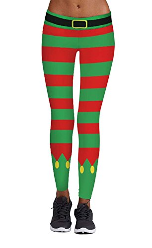 DREAGAL Women's Chic Ugly Santa Christmas Leggings Funny Costume Tights Pattern33 M for $<!--$15.89-->